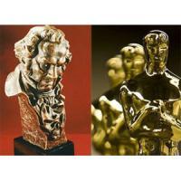 Fotografía de los premios Goya (izqda.) y Óscar (dcha)