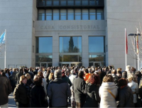 Protesta frente al ayuntamiento de Leganés
